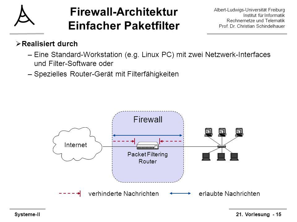Firewall-Architektur Einfacher Paketfilter