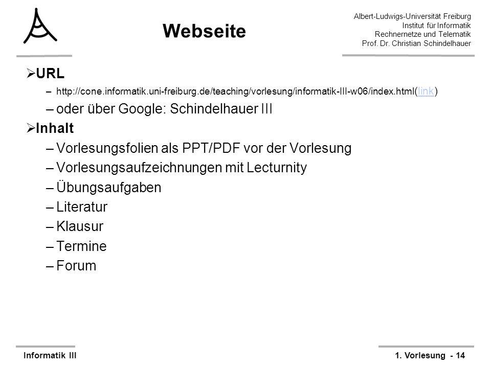 Webseite URL oder über Google: Schindelhauer III Inhalt