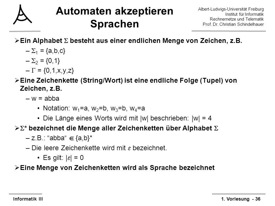 Automaten akzeptieren Sprachen