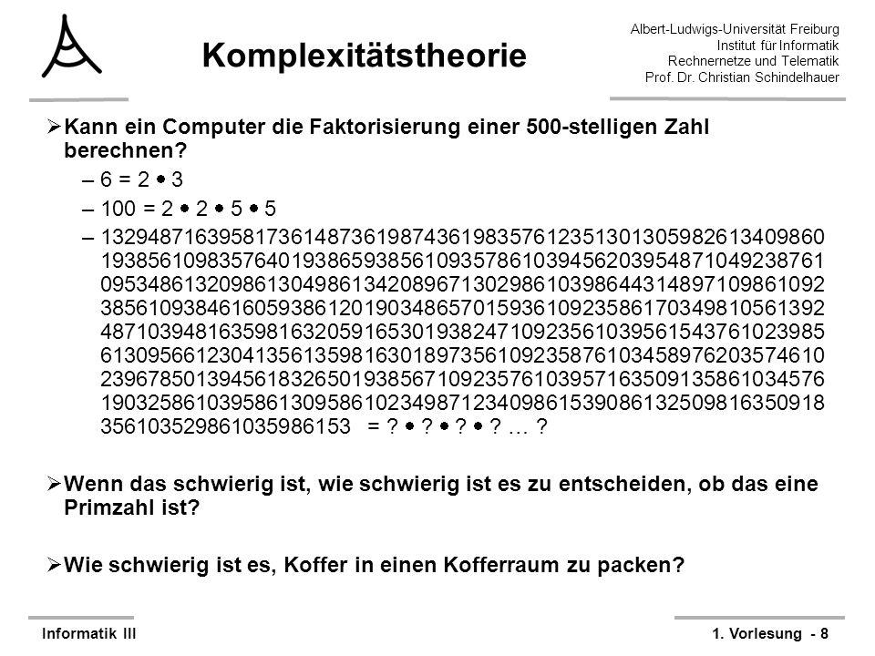Komplexitätstheorie Kann ein Computer die Faktorisierung einer 500-stelligen Zahl berechnen 6 = 2  3.