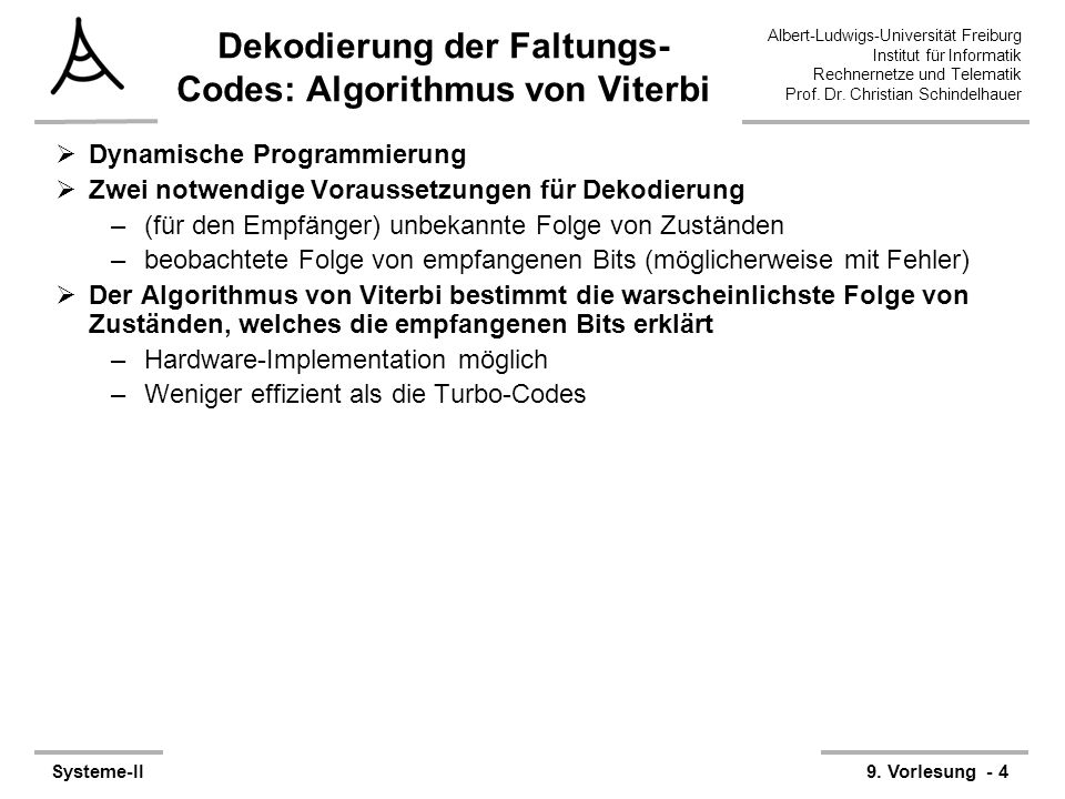 Dekodierung der Faltungs-Codes: Algorithmus von Viterbi