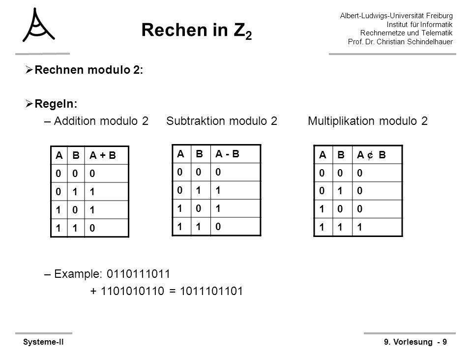 Rechen in Z2 Rechnen modulo 2: Regeln: