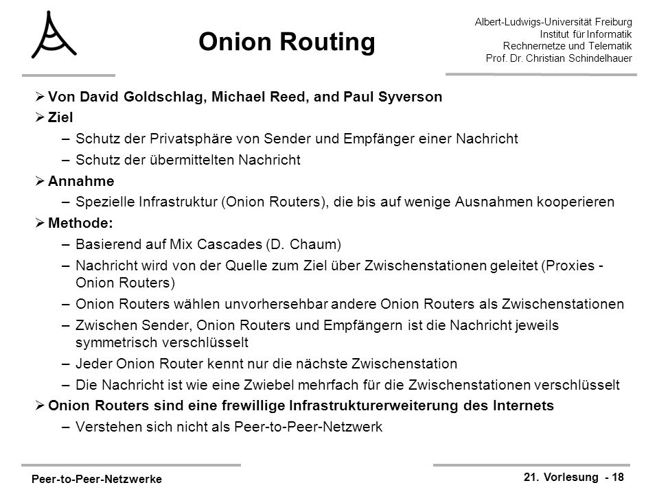 Onion Routing Von David Goldschlag, Michael Reed, and Paul Syverson