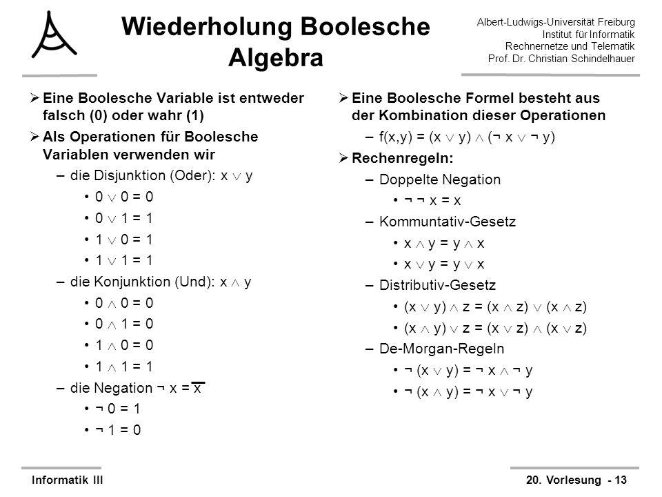 Wiederholung Boolesche Algebra