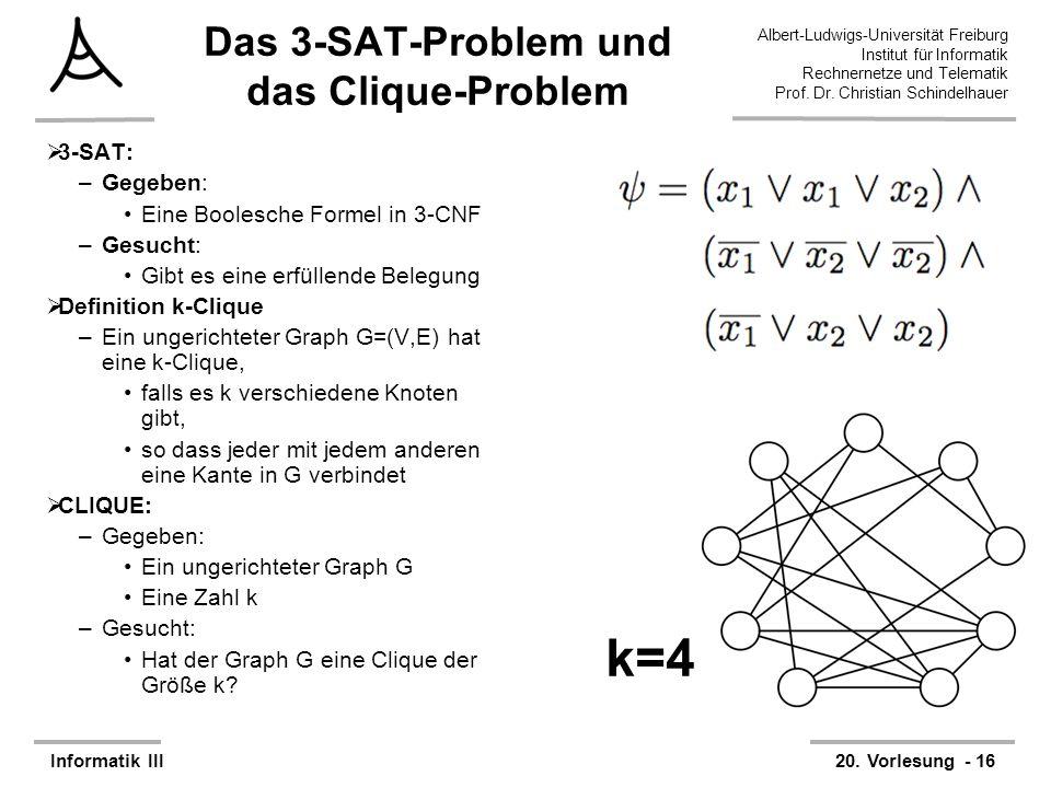 Das 3-SAT-Problem und das Clique-Problem