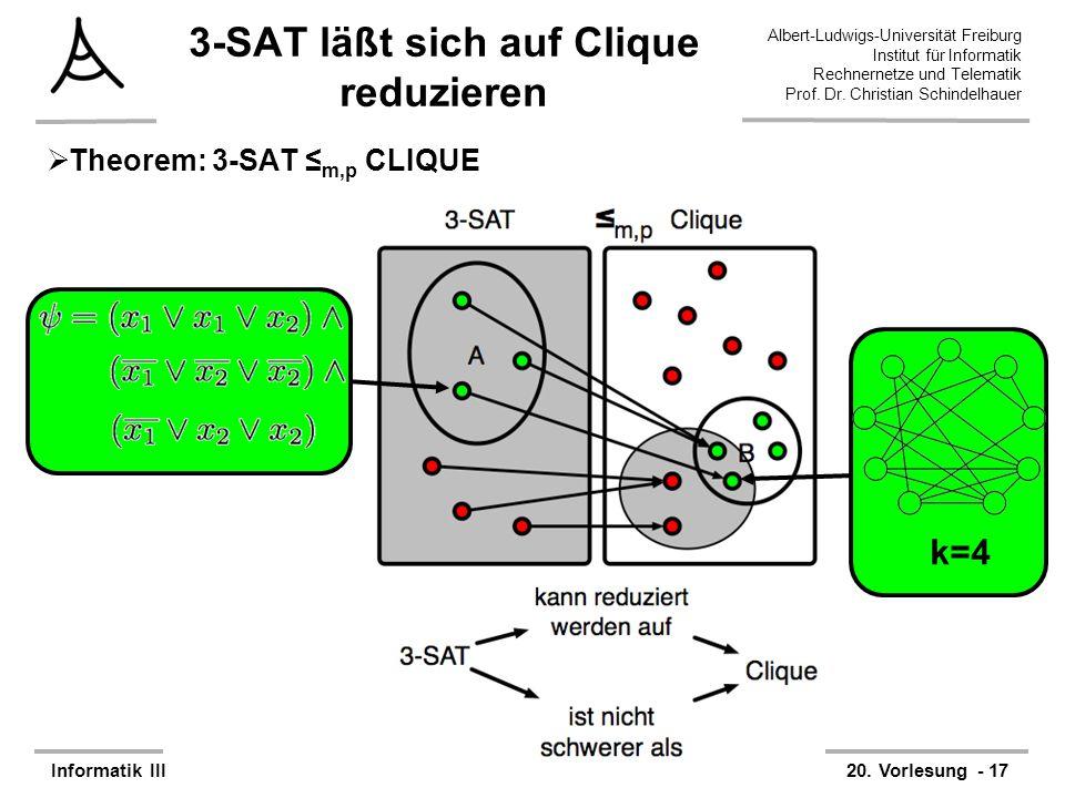 3-SAT läßt sich auf Clique reduzieren
