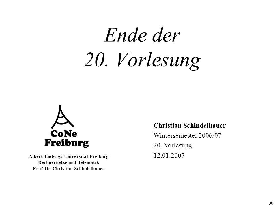 Ende der 20. Vorlesung Christian Schindelhauer Wintersemester 2006/07