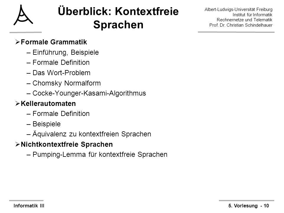 Überblick: Kontextfreie Sprachen