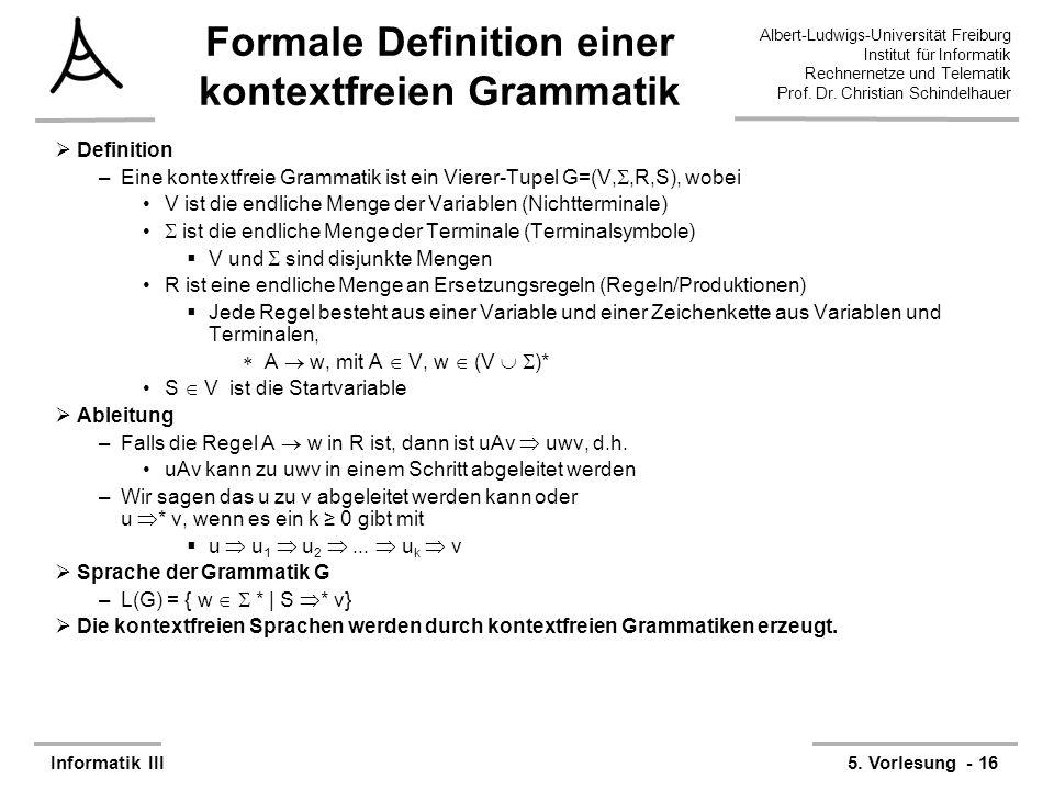 Formale Definition einer kontextfreien Grammatik