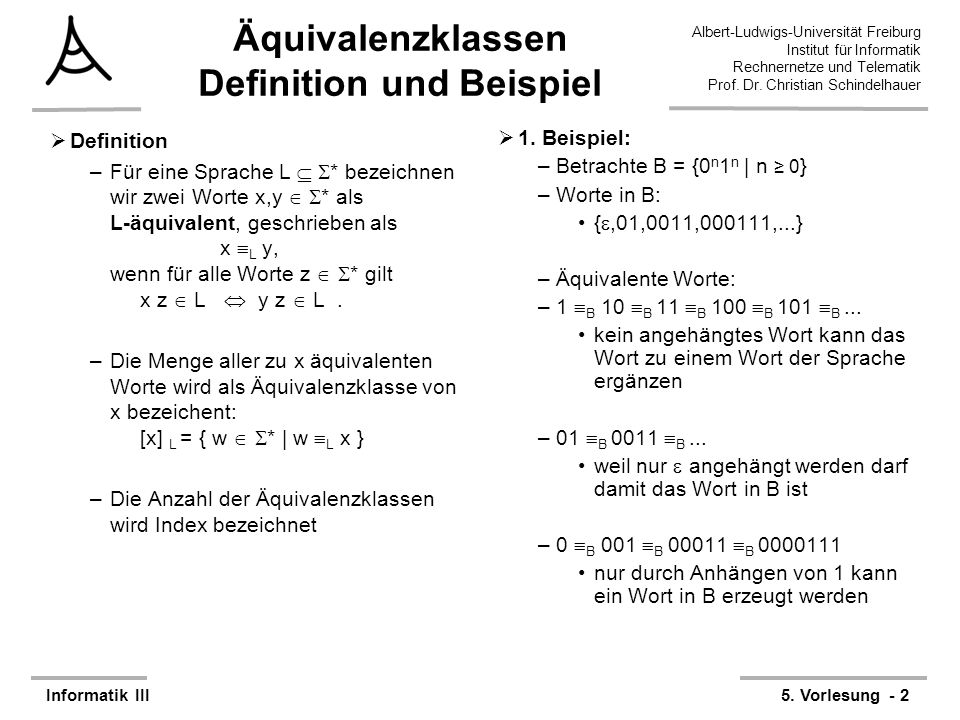 Äquivalenzklassen Definition und Beispiel