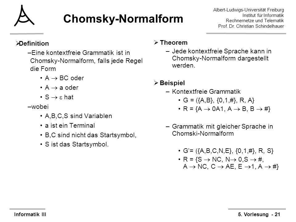 Chomsky-Normalform Definition