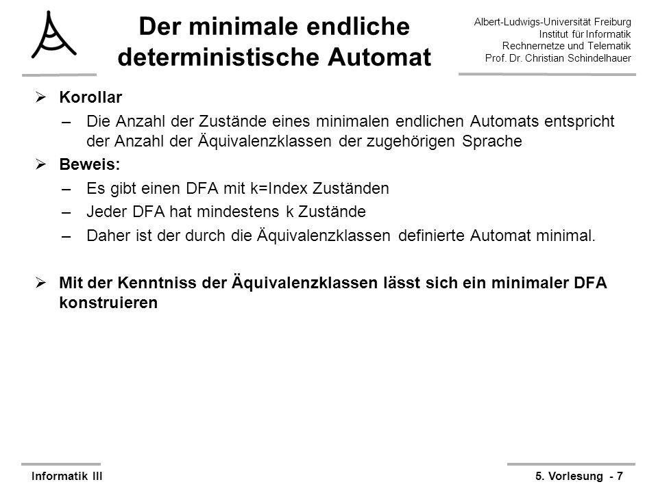 Der minimale endliche deterministische Automat