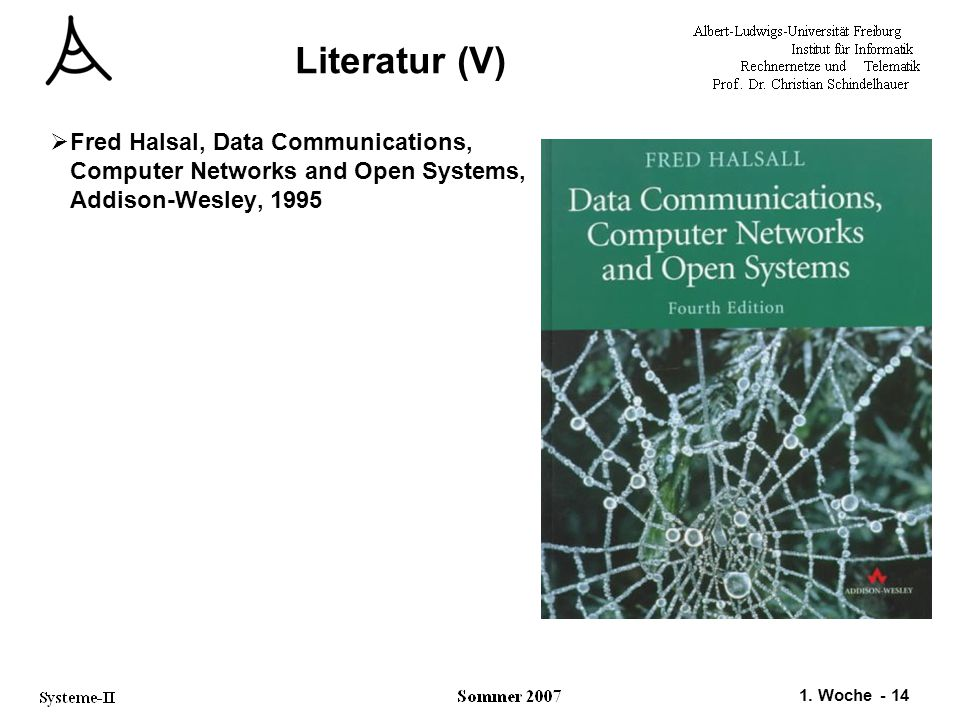 Literatur (V) Fred Halsal, Data Communications, Computer Networks and Open Systems, Addison-Wesley, 1995.