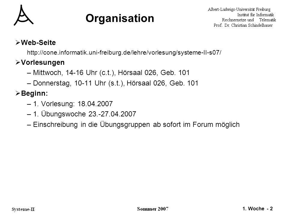 Organisation Web-Seite Vorlesungen