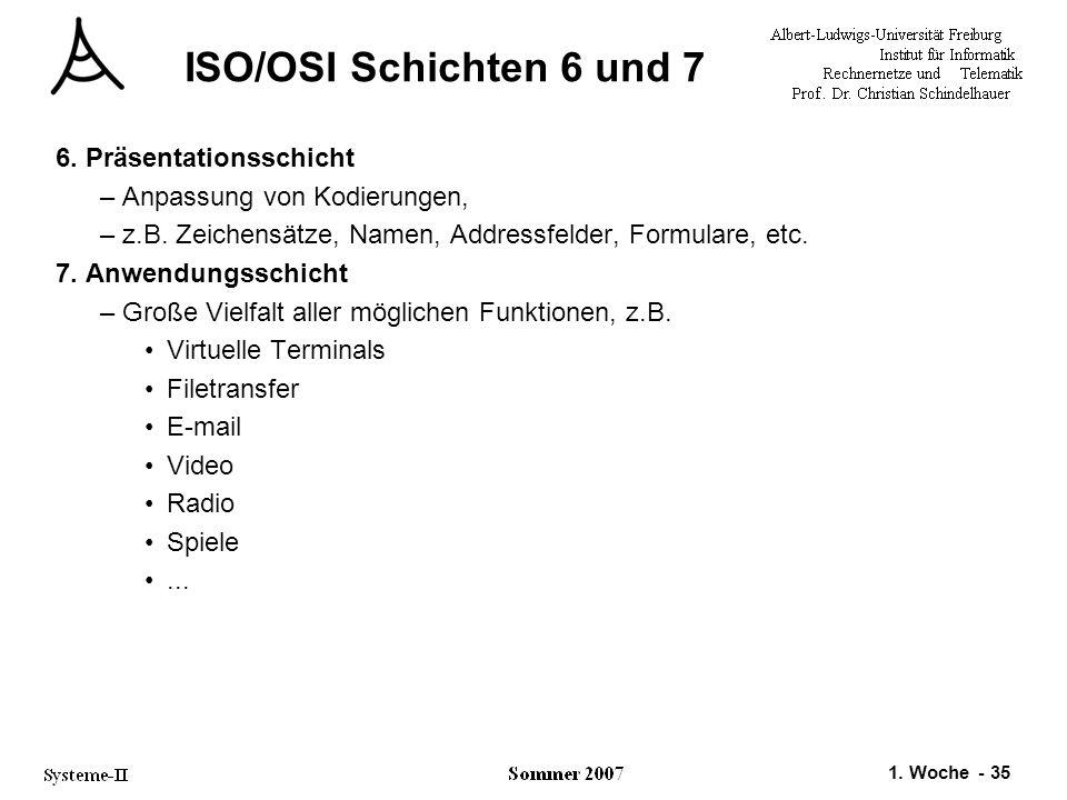 ISO/OSI Schichten 6 und 7 6. Präsentationsschicht