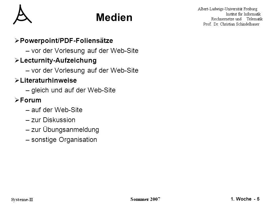 Medien Powerpoint/PDF-Foliensätze vor der Vorlesung auf der Web-Site