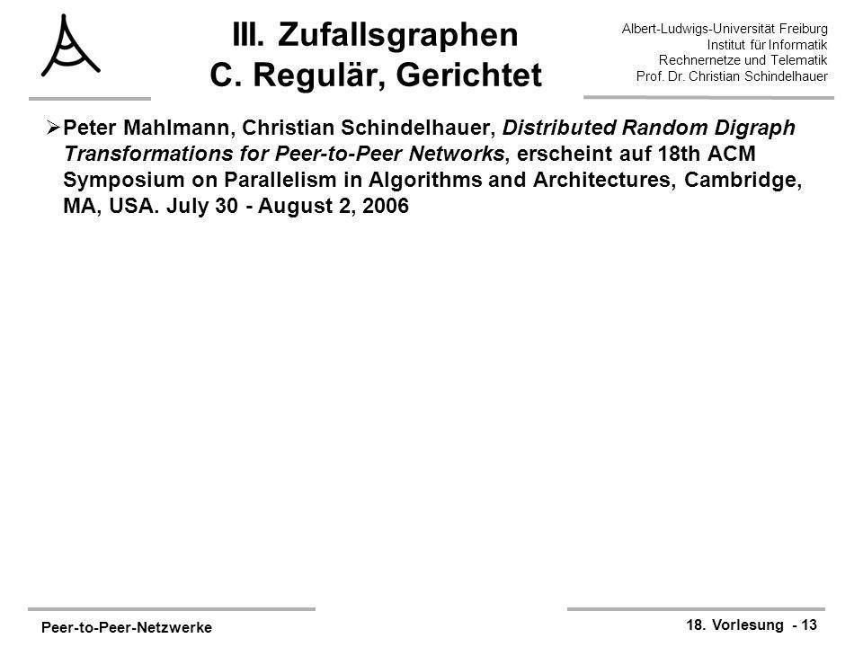 III. Zufallsgraphen C. Regulär, Gerichtet