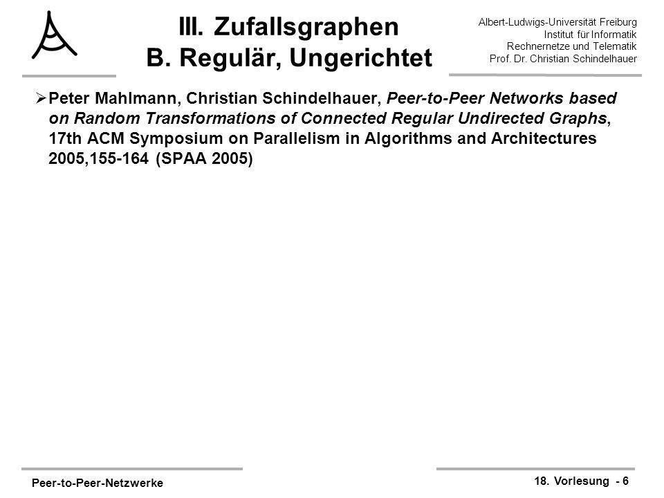 III. Zufallsgraphen B. Regulär, Ungerichtet