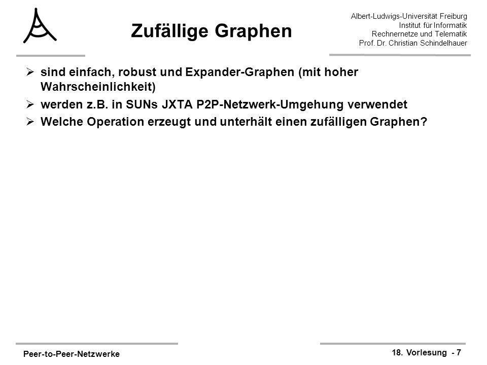 Zufällige Graphen sind einfach, robust und Expander-Graphen (mit hoher Wahrscheinlichkeit) werden z.B. in SUNs JXTA P2P-Netzwerk-Umgehung verwendet.