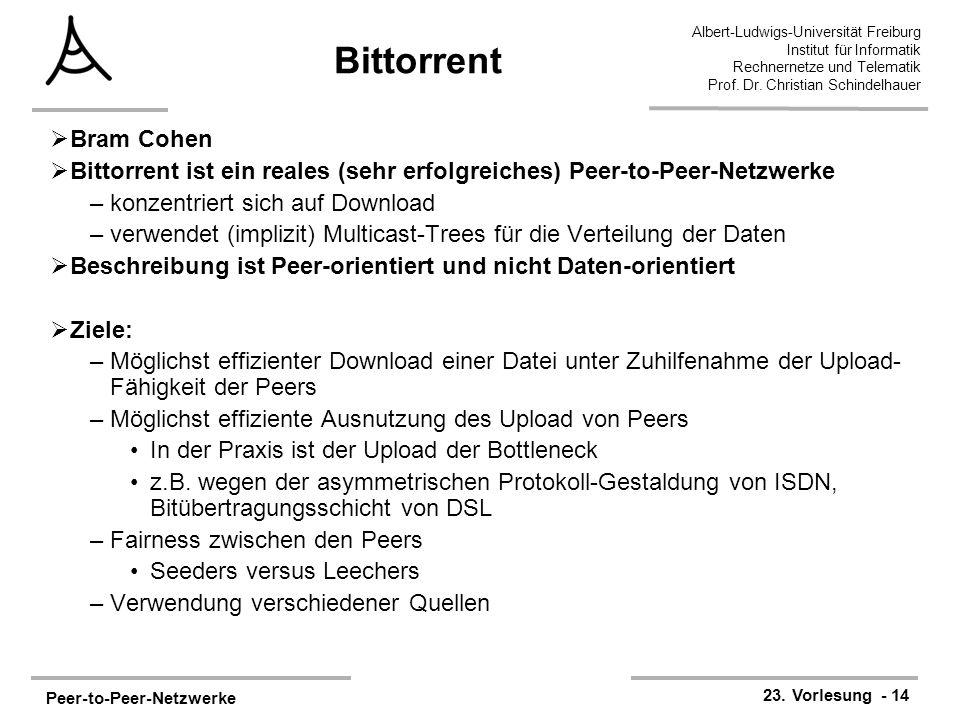 Bittorrent Bram Cohen. Bittorrent ist ein reales (sehr erfolgreiches) Peer-to-Peer-Netzwerke. konzentriert sich auf Download.