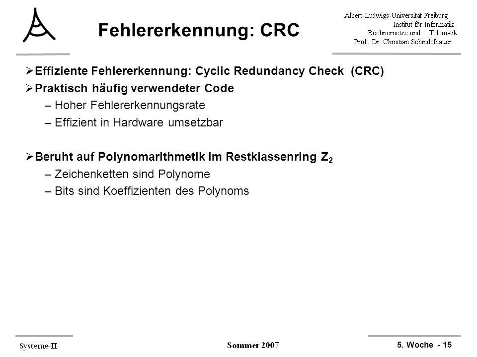 Fehlererkennung: CRC Effiziente Fehlererkennung: Cyclic Redundancy Check (CRC) Praktisch häufig verwendeter Code.