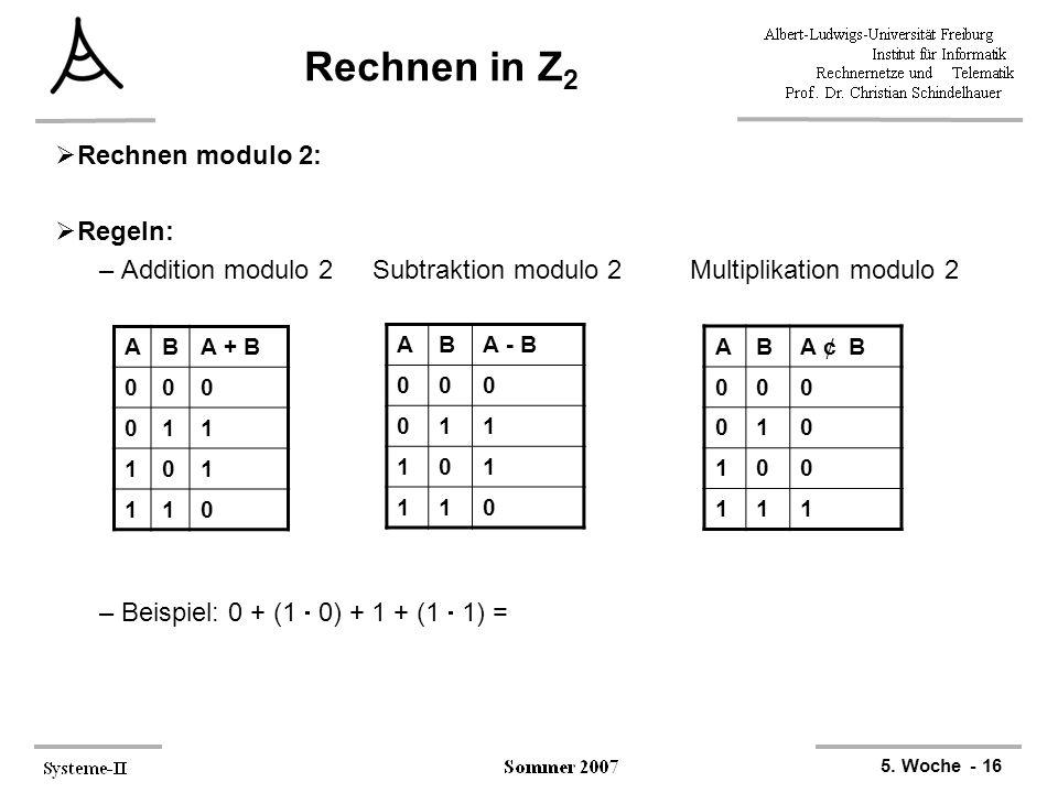 Rechnen in Z2 Rechnen modulo 2: Regeln: