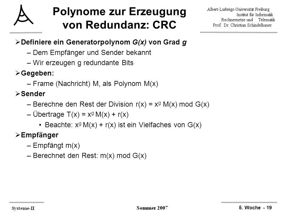 Polynome zur Erzeugung von Redundanz: CRC