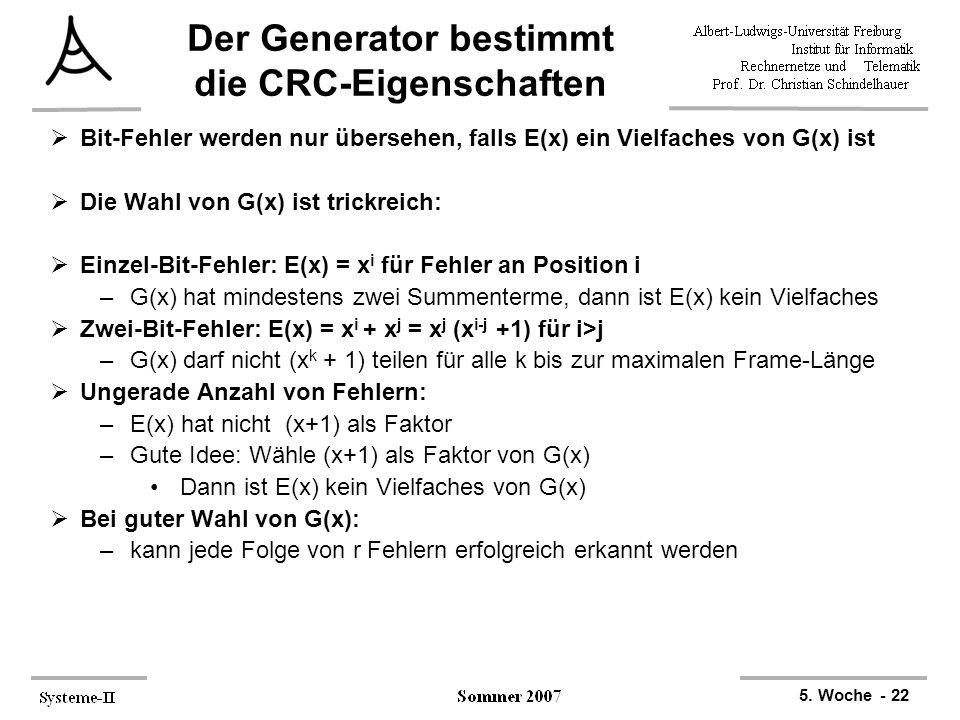 Der Generator bestimmt die CRC-Eigenschaften
