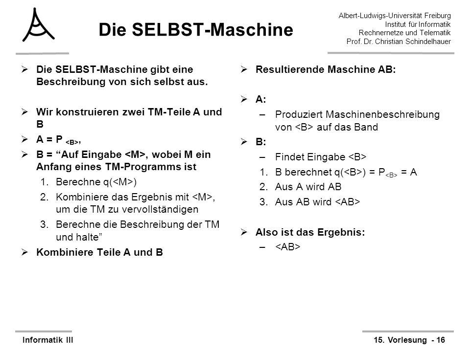 Die SELBST-Maschine Die SELBST-Maschine gibt eine Beschreibung von sich selbst aus. Wir konstruieren zwei TM-Teile A und B.