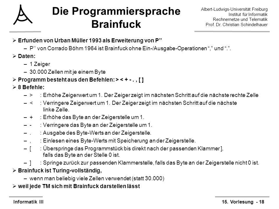 Die Programmiersprache Brainfuck
