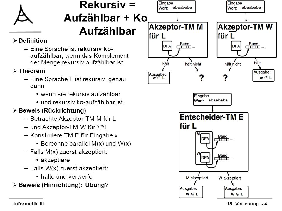 Rekursiv = Aufzählbar + Ko-Aufzählbar