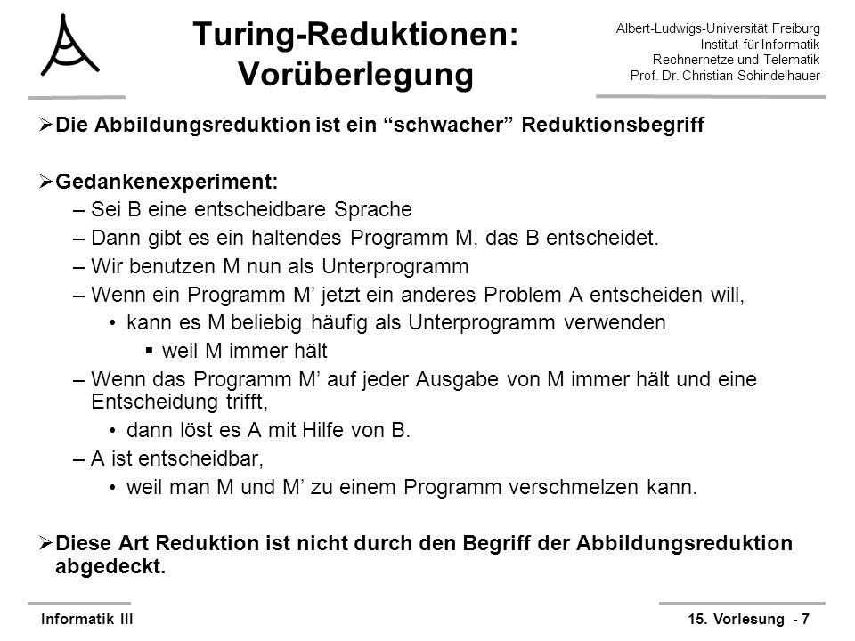 Turing-Reduktionen: Vorüberlegung