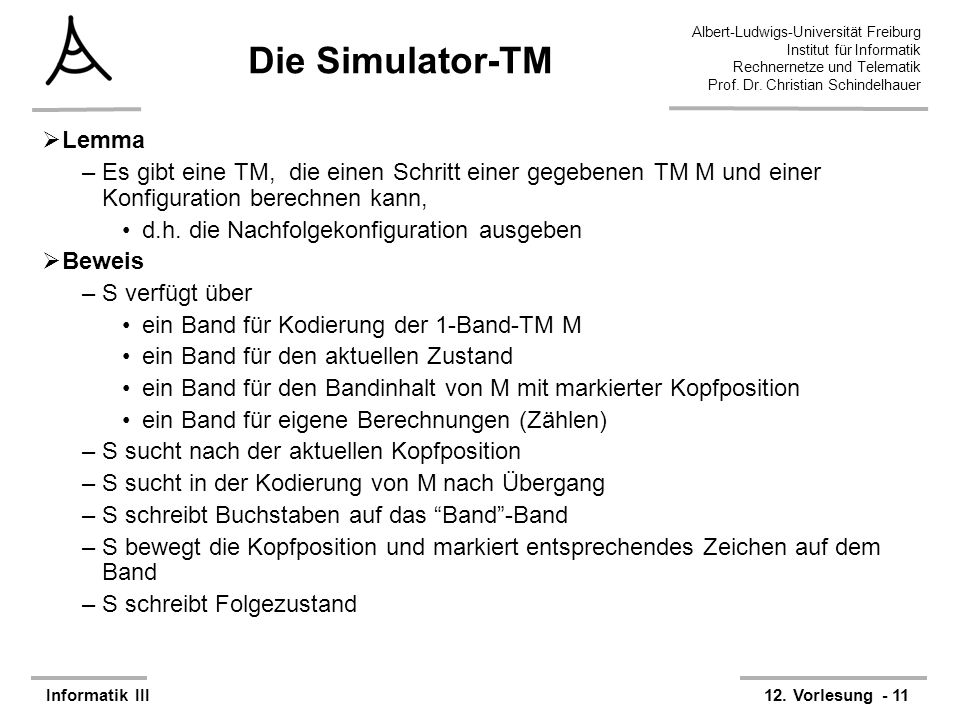 Die Simulator-TM Lemma