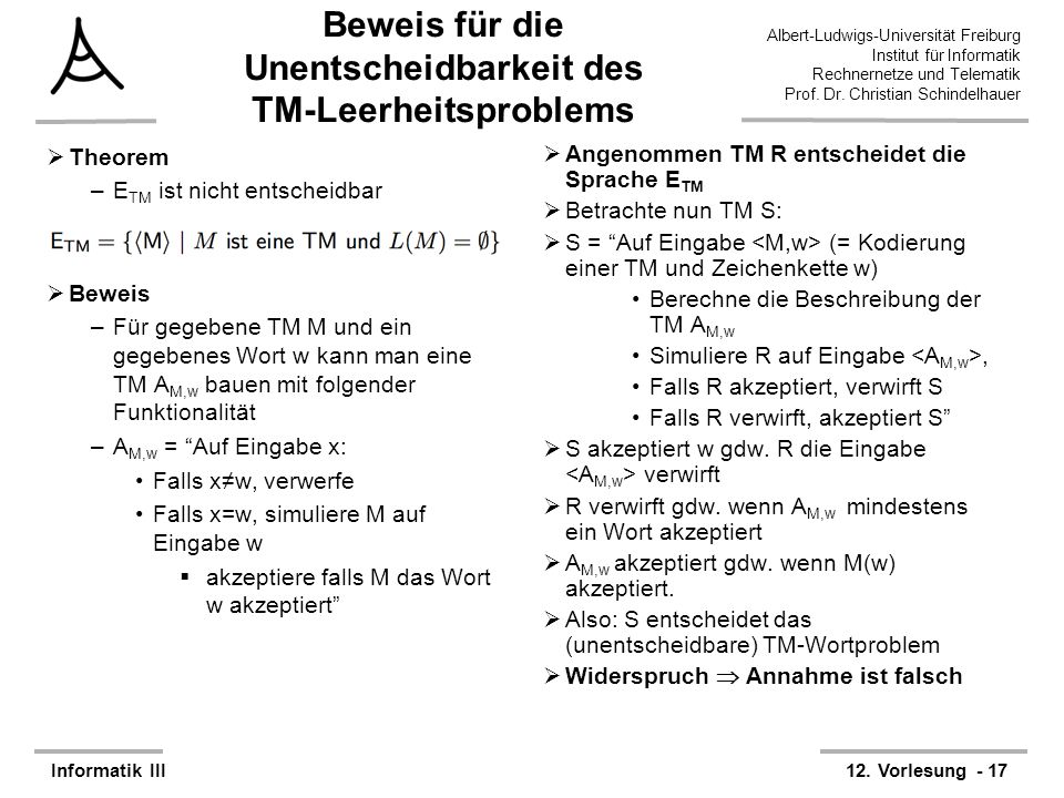 Beweis für die Unentscheidbarkeit des TM-Leerheitsproblems