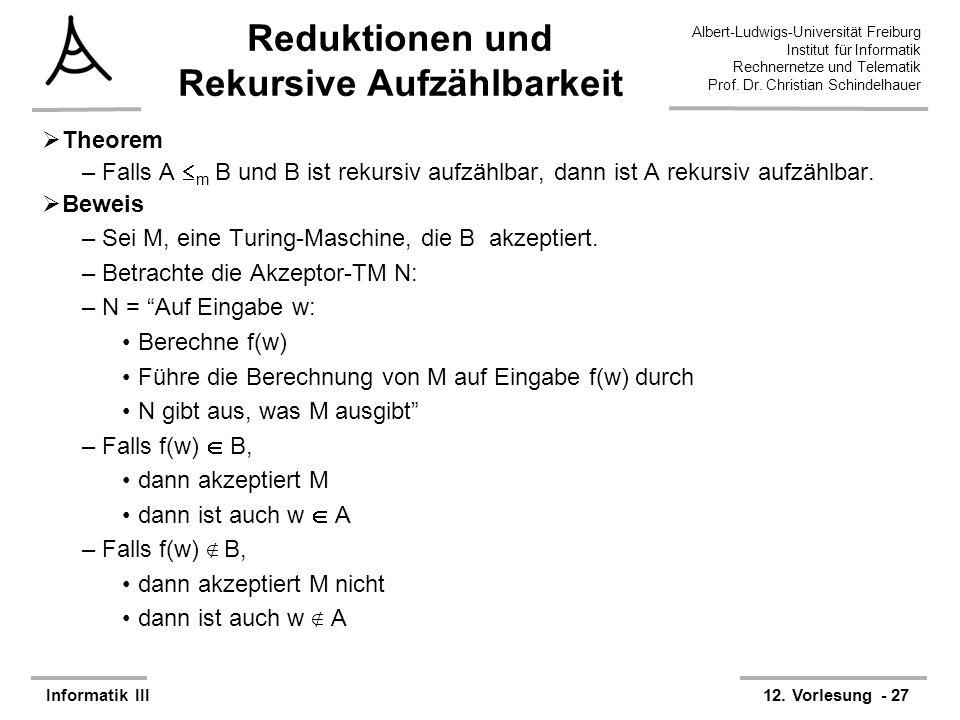 Reduktionen und Rekursive Aufzählbarkeit