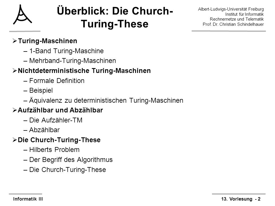 Überblick: Die Church-Turing-These