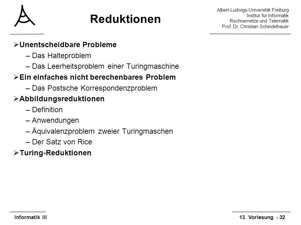 Reduktionen Unentscheidbare Probleme Das Halteproblem