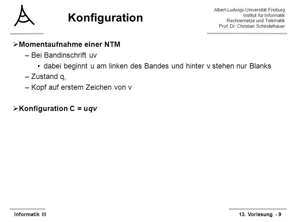 Konfiguration Momentaufnahme einer NTM Bei Bandinschrift uv
