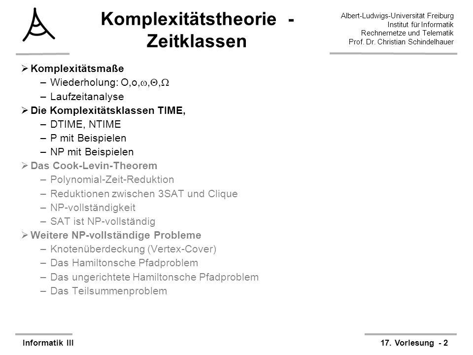 Komplexitätstheorie - Zeitklassen