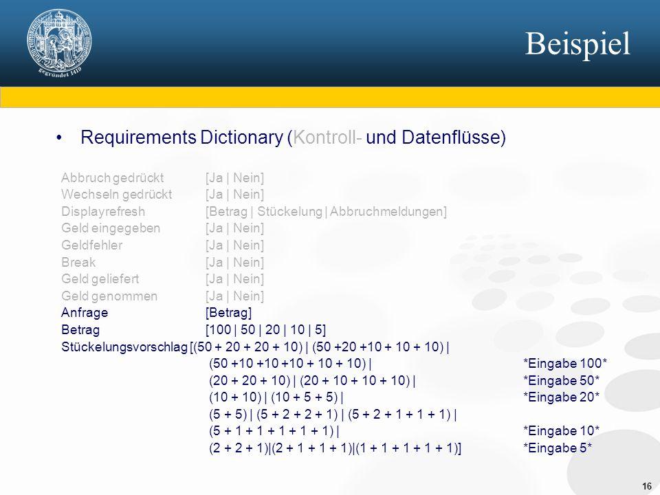 Beispiel Requirements Dictionary (Kontroll- und Datenflüsse)