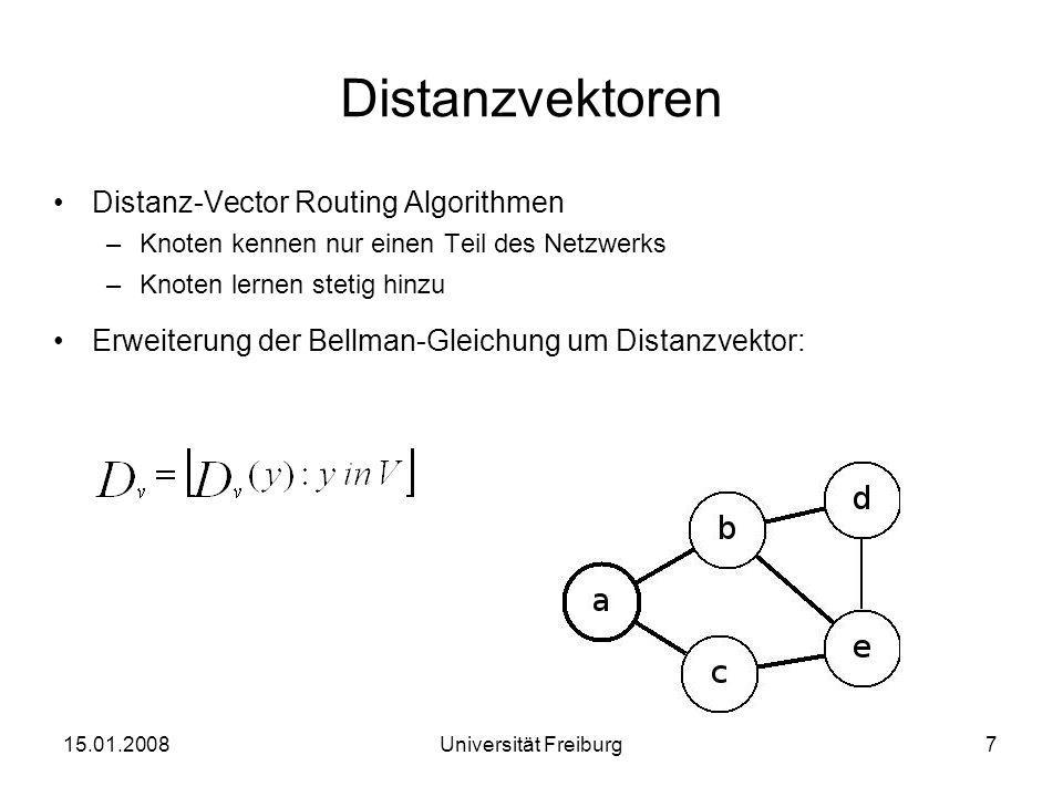 Distanzvektoren Distanz-Vector Routing Algorithmen