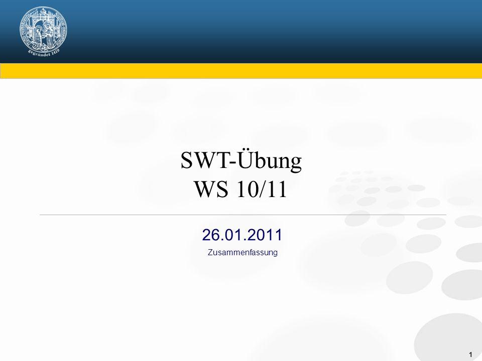 SWT-Übung WS 10/11 26.01.2011 Zusammenfassung