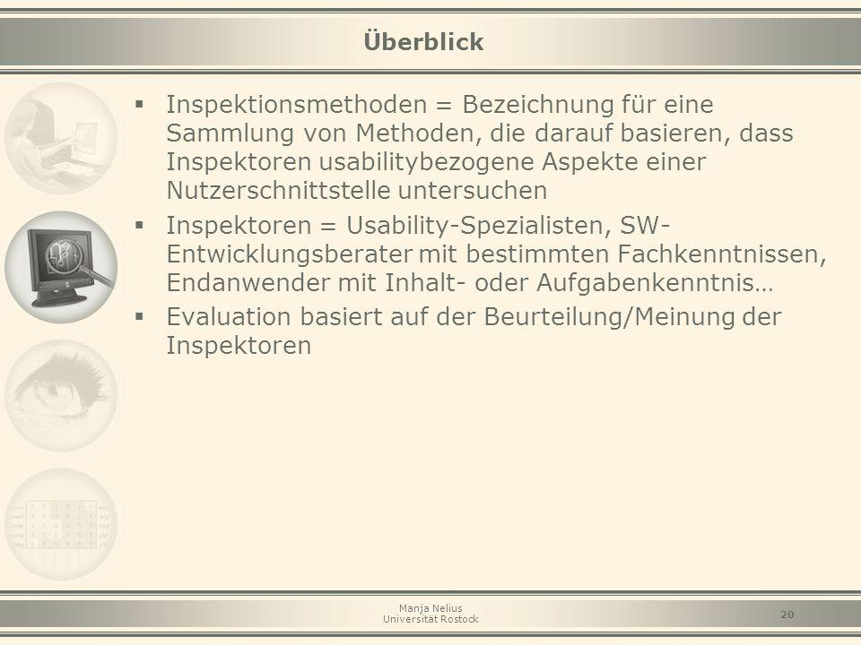 Evaluation basiert auf der Beurteilung/Meinung der Inspektoren