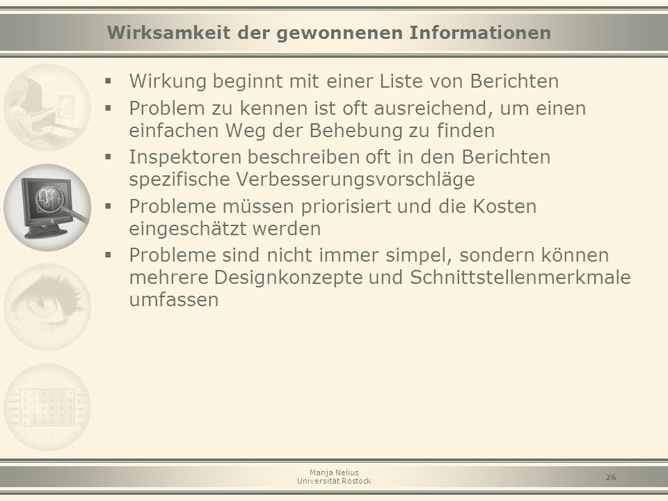 Wirksamkeit der gewonnenen Informationen