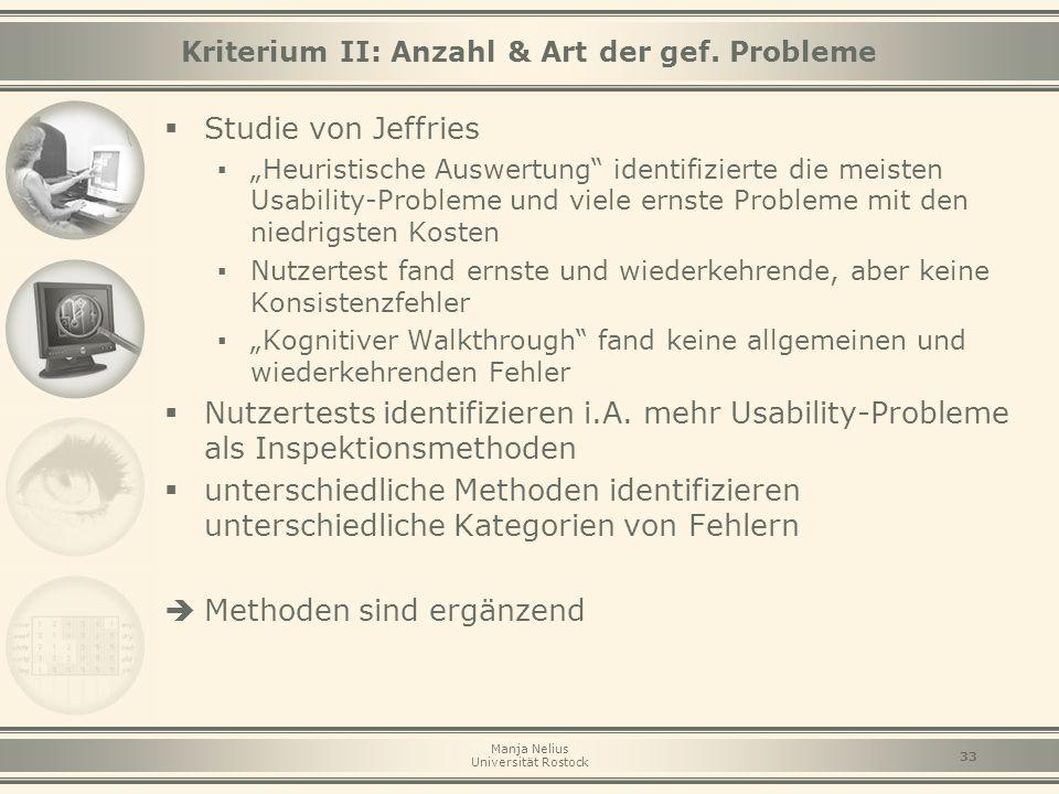 Kriterium II: Anzahl & Art der gef. Probleme