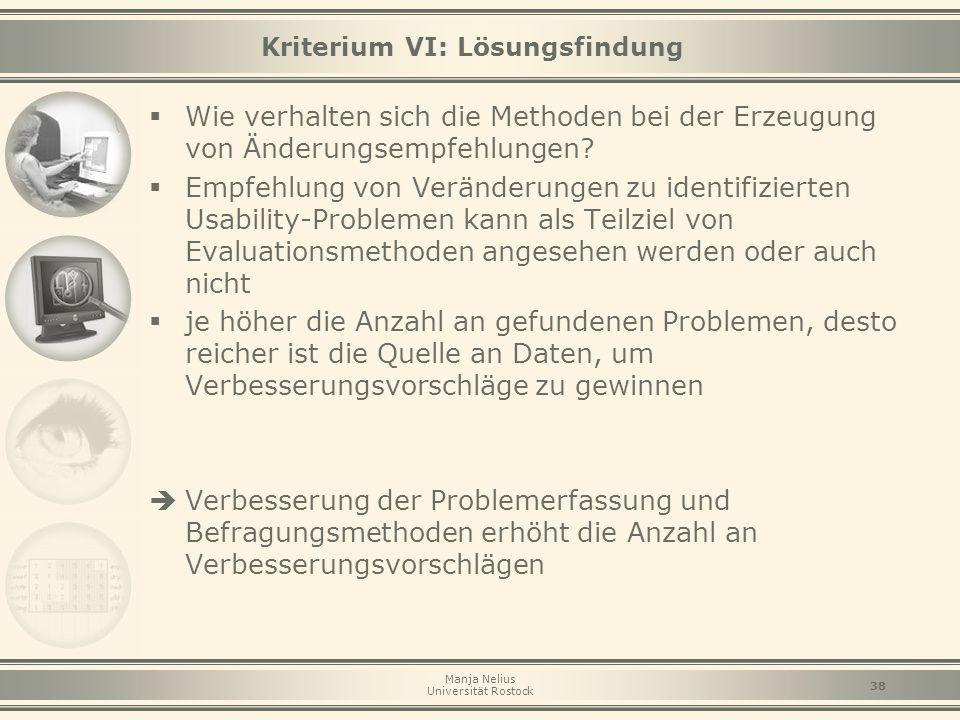 Kriterium VI: Lösungsfindung