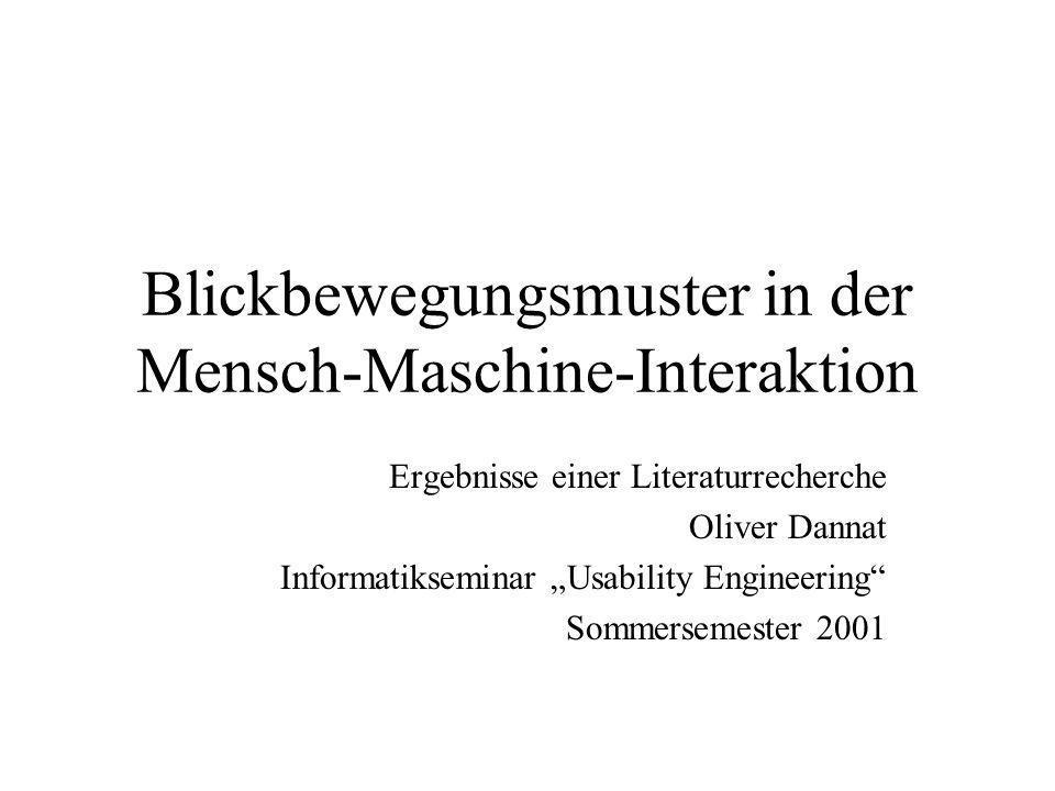 Blickbewegungsmuster in der Mensch-Maschine-Interaktion