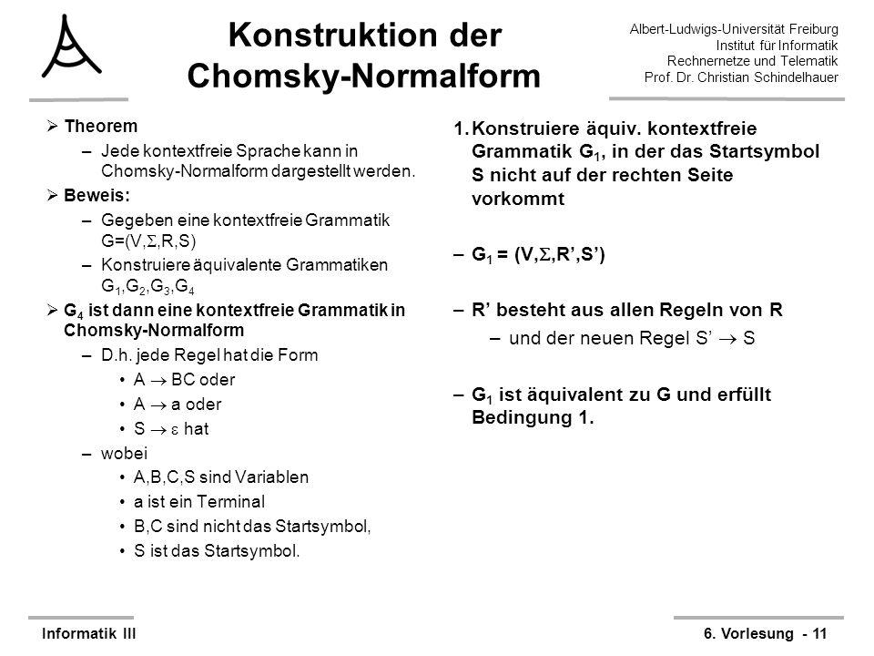 Konstruktion der Chomsky-Normalform
