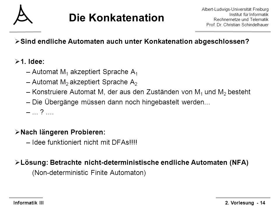 Die Konkatenation Sind endliche Automaten auch unter Konkatenation abgeschlossen 1. Idee: Automat M1 akzeptiert Sprache A1.