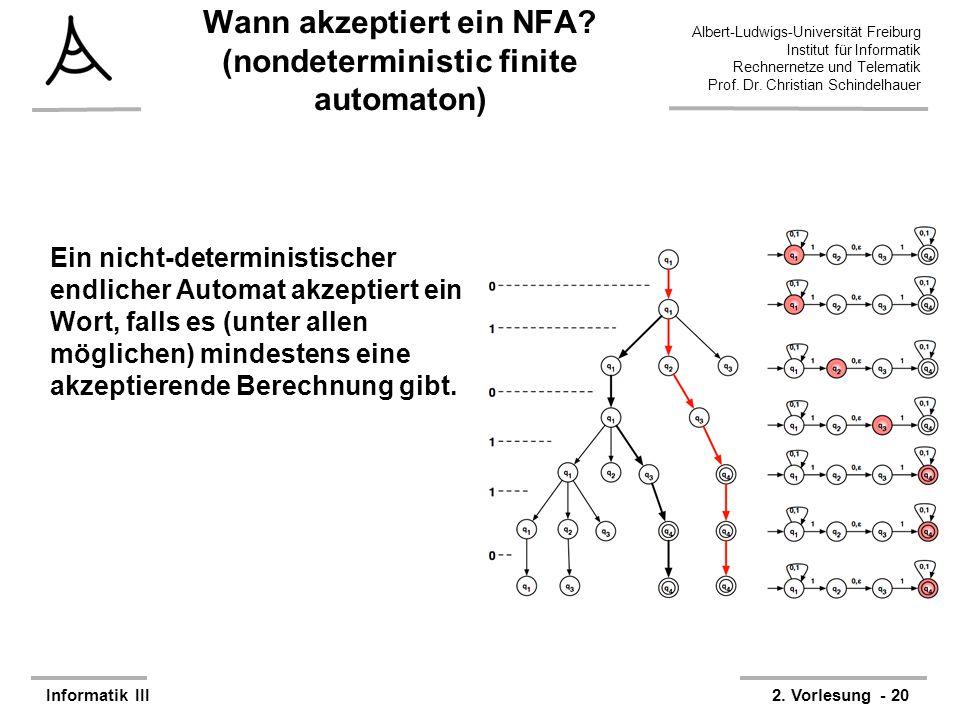 Wann akzeptiert ein NFA (nondeterministic finite automaton)